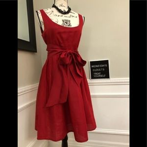 Anthropologie Maeve Red Cotton party dress size 4